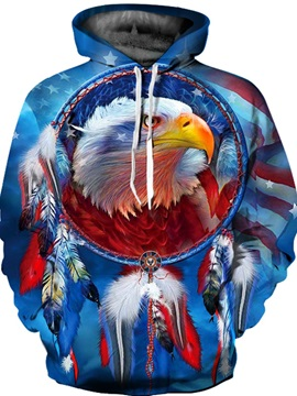 Unisex Golden Eagle American Flag Pullover Athletic 3D Painted Hoodie