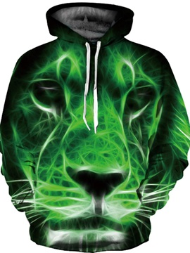 Unique Long Sleeve Green Lion Face Pattern 3D Painted Hoodie