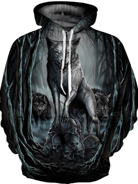 Long Sleeve Monsterwolves Pattern Front Pocket 3D Painted Hoodie