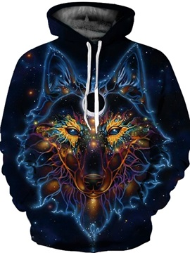 Special Long Sleeve Colorful Wolf Pattern 3D Painted Hoodie