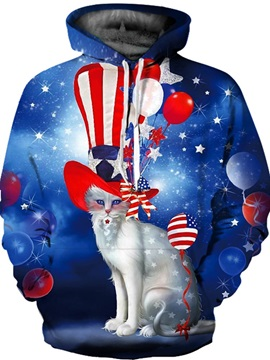Long Sleeve White Cat Wearing Hat Pattern 3D Painted Hoodie