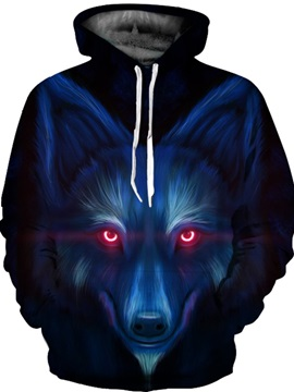 Long Sleeve Blue Wolf Face Pattern 3D Painted Hoodie