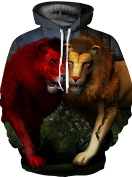 Vibrant Color Cool Design Kangaroo Pocket Casual 3D Painted Hoodie