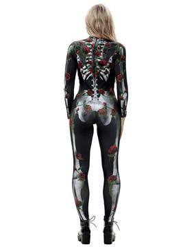 Skeleton Print 3D Style Stretch Halloween Costume Jumpsuit