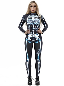 Skinny Model Spandex 3D Style Halloween Costume Jumpsuit