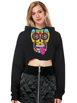 Midriff-Baring Nice Design Vivid Color Pullover 3D Painted Hoodie