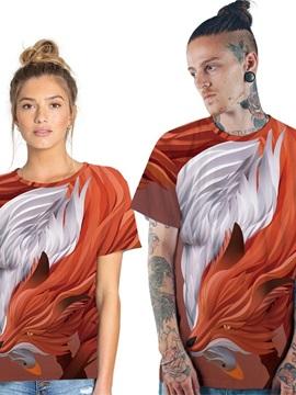 Modern Round Neck Fox Pattern 3D Painted T-Shirt
