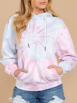 Spring Tie-Dye Printed Women's Hoodies Tops Sweatshirt Pink Long Sleeve Pullover Loose Drawstring Hooded with Pocket