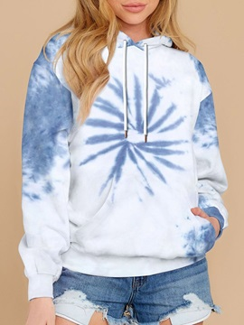 Spring Tie-Dye Printed Women's Hoodies Tops Sweatshirt White and Blue Long Sleeve Pullover Loose Drawstring Hooded with Pocket