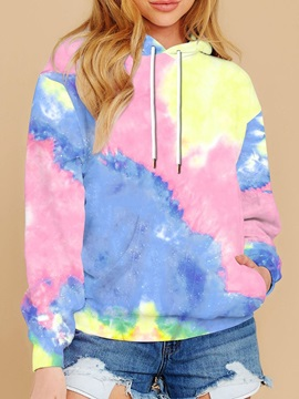 Casual Tie-Dye Printed Women's Hoodies Tops Sweatshirt Long Sleeve Pullover Loose Drawstring Hooded with Pocket