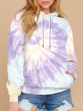 Casual Tie Dye Printed Women's Hoodies Tops Sweatshirt Purple Long Sleeve Pullover Loose Drawstring Hooded with Pocket