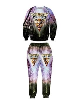 Forest Galaxy Leopard's Face Men's 3D Sweatshirt Sets
