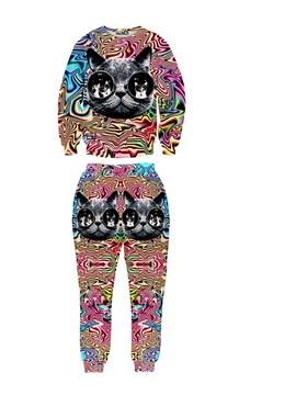 Glasses Cat Fashion Colorful Long-Sleeve Men's 3D Sweatshirt Sets
