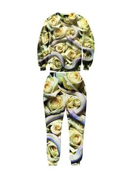 Flowers and Snake Pattern Long-Sleeve Men's 3D Sweatshirt Sets