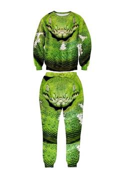 Python Snake Fashion Green Long-Sleeve Men's 3D Sweatshirt Sets