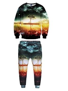 Scenery Tree Galaxy River Men's 3D Sweatshirt Sets
