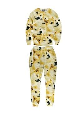 Funny Emotion Dog Shiba Inu Long-Sleeve Men's 3D Sweatshirt Sets
