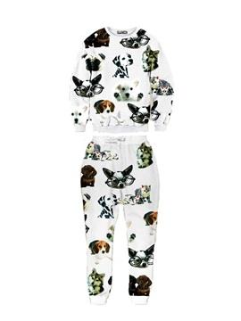 Lovely Spotted Dog Pattern Men's 3D Sweatshirt Sets