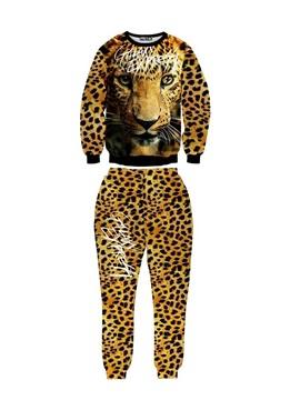 Brave Cool Leopard Long-Sleeve Men's 3D Sweatshirt Sets