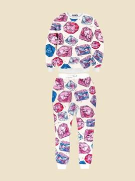Bright Diamond Long-Sleeve Men's 3D Sweatshirt Sets