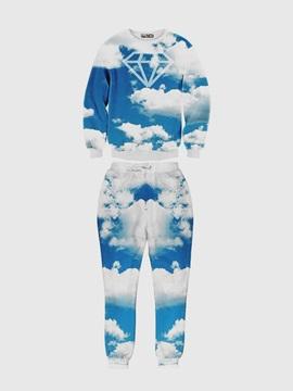 Cloud And Sky Long-Sleeve Men's 3D Sweatshirts Sets