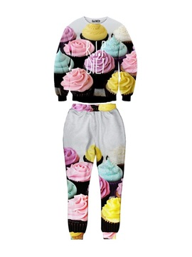 Cup Cake Pattern Long-Sleeve Men's 3D Sweatshirts Sets