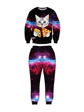 Cat Pizza Galaxy Spandex 3D Long-Sleeve Blue Men's Sweatshirt Sets