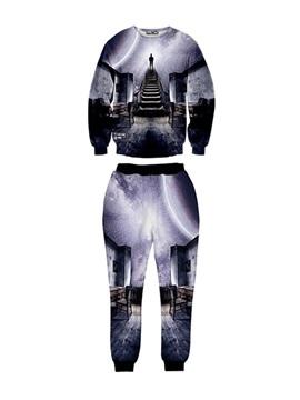 Walk into Universal Spandex Long-Sleeve Men's 3D Sweatshirt Sets