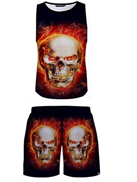 Angry Ghost Printed 3D Sleeveless & Shorts Sets