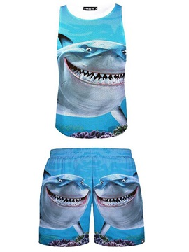 Casual Style 3D Shark Printed Blue Sleeveless & Shorts Sets