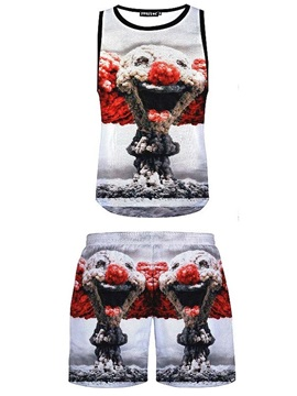 Casual Style Cartoon Printed 3D Sleeveless & Shorts Sets
