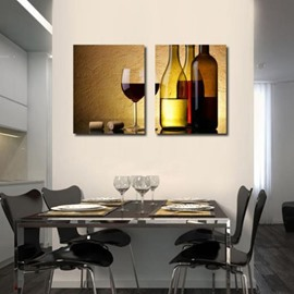 Elegant Red Wine and Wine Glass Print 2-piece Cross Film Wall Art Prints