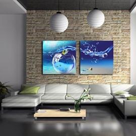 Beautiful Blue Tank and Water Drop Print 2-piece Cross Film Wall Art Prints