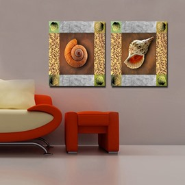 Fancy Decorative 2 Pieces Snail and Shell Pattern None Framed Wall Art Prints