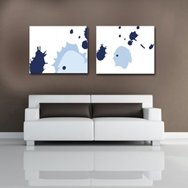 White Square with blue Pattern None Framed Canvas Wall Art Prints