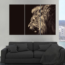 Modern Fashion Vivid Lion Pattern 3 Pieces None Framed Wall Art Prints