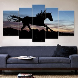 Running Horse in Dusk Pattern Canvas Waterproof and Eco-friendly 4-Piece Framed Prints