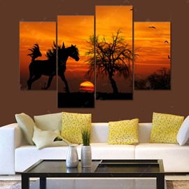 Horse in Sunset Canvas Waterproof and Eco-friendly Hanging 4-Piece Framed Prints