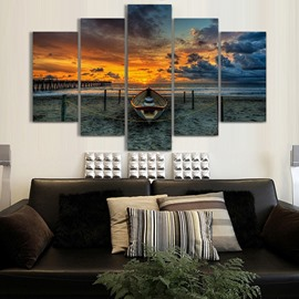 Sunset and Sea 5-Piece Canvas Hung Non-framed Wall Prints