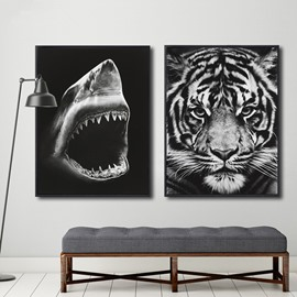 White and Black Shark and Tiger Pattern 1 Piece Framed Wall Art Print