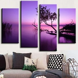 Purple Lake and Tree 4-Piece Canvas Hung Non-framed Wall Prints