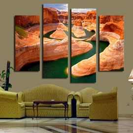 Geomorphology and River 4-Piece Canvas Hung Non-framed Wall Prints