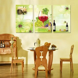 Fresh Grape and Wine Glasses Dining Room Decoration 3 Panels None Framed Wall Art Prints