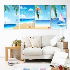 Blue Summer Time Seaside Scenery Pattern 4 Panels None Framed Wall Art Prints