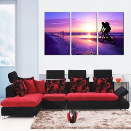 Purple Cycling Man in Sunset Scenery 3 Panels None Framed Wall Art Prints