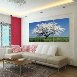 Tree with White Flowers 3-Piece Fabric Hung Non-framed Wall Prints