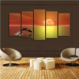 Yellow Sunrise above Sea Level 5-Panel Canvas Hung Non-framed Wall Prints