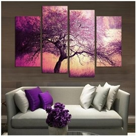 Purple Tree and Sunrise 4-Panel Canvas Hung Non-framed Wall Prints