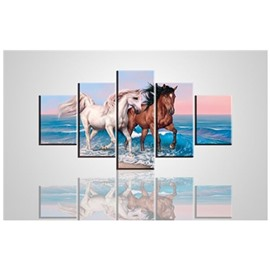 Two Running Horses on The Seaside 5-Panel Canvas Hung Non-framed Wall Prints