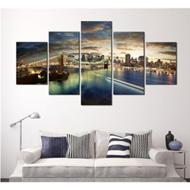 Modern City under The Sunset 5-Panel Canvas Hung Non-framed Wall Prints